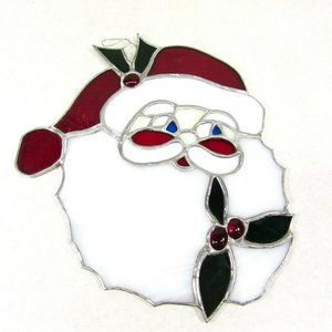 Stained Glass Santa Face Blue Eye Leaded Glass